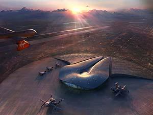 Imagen aérea del proyecto de Foster para el nuevo aeropuerto espacial (Virgin)