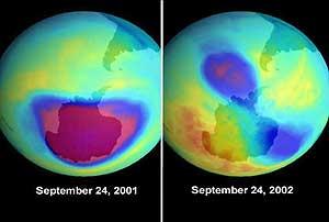 Agujeros antártico y ártico (mucho menor) en septiembre de 2001 (NASA)