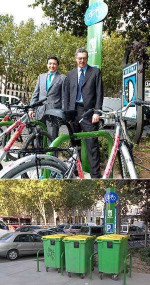 Arriba, el alcalde y Pedro Calvo, en la inauguración del aparcamiento para bicis de la cuesta de Moyano; abajo, cubos de basura en el aparcabicis. (Foto: EL MUNDO/CCOO Madrid)