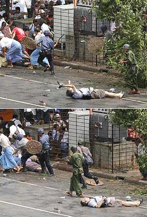 Secuencia de la muerte del fotógrafo. En la primera imagen un soldado le apunta con su arma mientras el reportero enseña su cámara. En la siguiente el soldado pasa a su lado. (REUTERS)