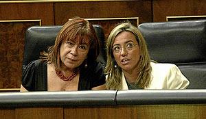 Chacón junto a Cristina Narbona, en el Pleno del Congreso. (FOTO: Kike Para)