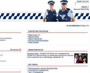 Sitio web de la policía neozelandesa.