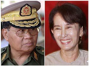 El general Than Swhe, y la líder de la oposición Aung San Suu Kyi, encarcelada desde 2003. (Foto: AFP)