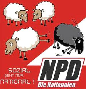 """En la copia alemana del cartel suizo se lee: """"Lo social pasa por lo nacional"""". (Foto: EL MUNDO)"""