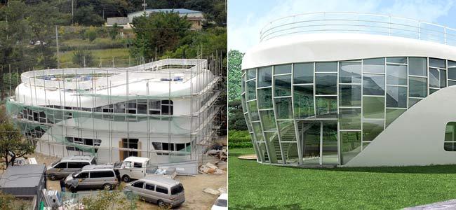 A la izquierda, estado actual de las obras de la casa. A la derecha, una recreación virtual. (FOTOS: AFP)