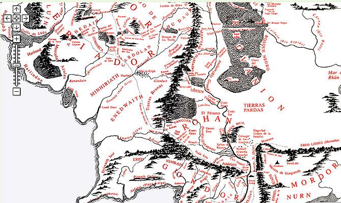 El mapa de la Tierra Media, adaptado a Google Maps.
