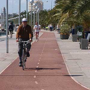 Un hombre pasea por uno de los carriles que actualmente hay en Palma.