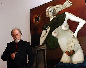 "Modest Cuixart, junto a su cuadro ""Marbrina"" (2002). (Foto: EFE)"