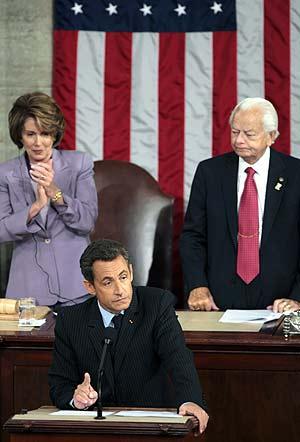 Sarkozy, durante su intervención ante el Congreso estadounidense. (Foto: AFP)