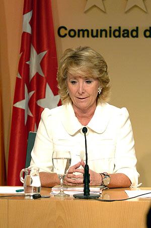Esperanza Aguirre tras el Consejo de Gobierno. (Foto: Comunidad de Madrid)