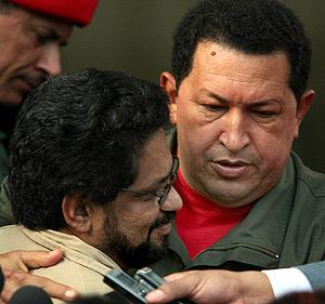 Chávez se reúne con el representante de la guerrilla, Ivan Marquez. (Foto: AFP)
