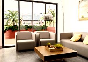 Un salón de las futuras viviendas 'verdes'.
