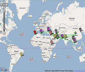 El color verde en el mapa refleja las actividades contra la censura y las relaciones entre activistas.