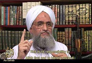 Imagen de Al Zawahiri que precede a la grabación. (Foto: AFP)