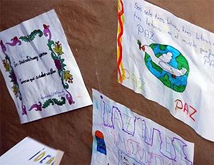 Dibujos por la paz realizados por los niños de Alcorcón. (Foto: Ayuntamiento de Alcorcón)