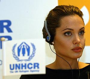 Angelina Jolie, ejerciendo como embajadora del Acnur. (Foto: Antonio Moreno)