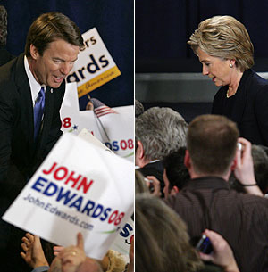 Edwards y Clinton. (Fotos: AP/AFP)
