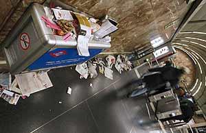 Imagen del estado de una de las estaciones durante la huelga. (Foto: EFE)