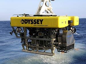 Imagen de un vehículo a control remoto de la compañía de exploración marina Odyssey.