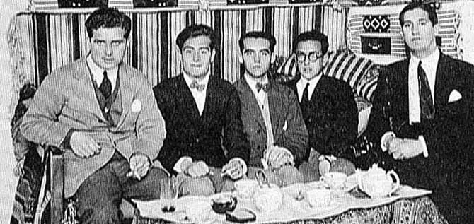 De izqa. a dcha., Eaton-Daniel, Juan Centeno, Federico García Lorca, Emilio Prados y Pepín Bello.