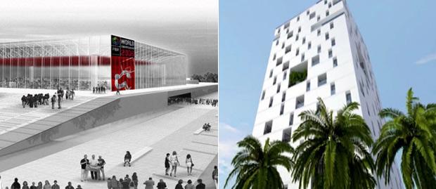 Complejo Municipal Andrés Torrejón de Móstoles y edificio de oficinas en Argel (ambos en proyecto). (FOTO: E4D)
