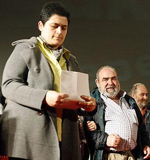 Marian Beitialarrangoitia, durante el acto celebrado el sábado en Pamplona. (Foto: EFE)