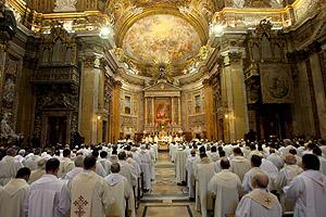 Vista de la misa que dio inicio a la 35ª Congregación General de los jesuitas en Roma, que eligió a su nuevo Superior. (Foto: EFE)