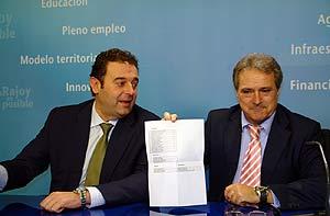 Gerardo Camps y Alfonso Rus, durante el anuncio oficial de las listas en la provincia de Valencia. (Foto: E.M.).