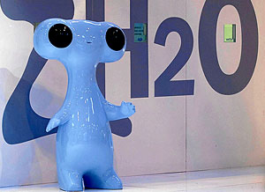 'Fluvi', la mascota de Expo Zaragoza 2008. (Foto: Javier Belver)