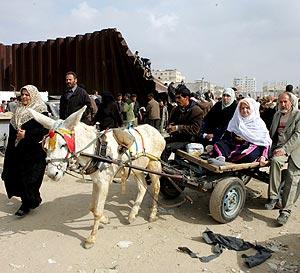 Una familia palestina cruza con un burro la frontera con Egipto. (Foto: EFE)