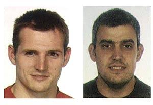 Los etarras Igor Portu y Martin Sarasola, autores del atentado en la T4. (Foto: REUTERS)