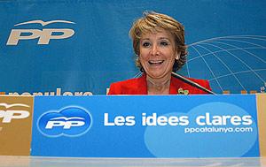 Esperanza Aguirre durante su intervención en Lleida. (Foto: EFE)