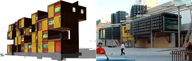A la izquierda, proyecto de viviendas unipersonales realizado para el Ayuntamiento de Basauri (Vizcaya). A la derecha edificio con 'prótesis' en Castellón. (www.recetasurbanas.net)
