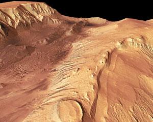 Una imagen captada por la sonda europea 'Mars Express' del 'Valle Marineris', un sistema de cañones con una extensión de más de 3.000 kilómetros en la superficie marciana. (Foto. ESA)