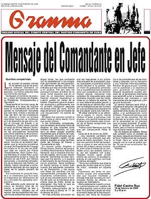 Imagen de la carta de Fidel Castro publicada en 'Granma'. (Foto: EFE)