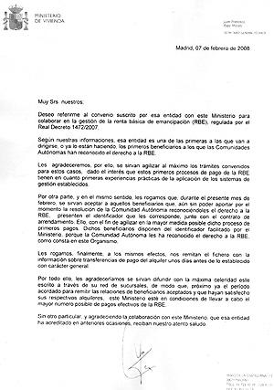 Reproducción de la carta enviada por Vivienda.