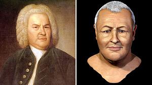 Comparación del retrato de Haussmann y la reconstrucción digital del rostro de Bach. (Foto: BACHHAUS EISENACH | EFE)