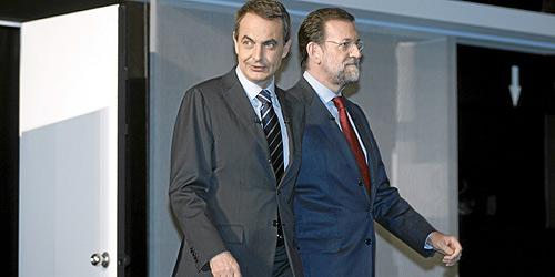 Zapatero y Rajoy, durante el segundo debate. (Foto: Javi Martínez)