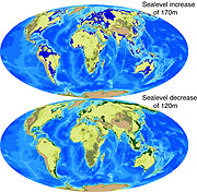 Comparación de la Tierra de hace 80 millones de años (arriba) con las predicciones de cómo será dentro de 80 millones de años (abajo).