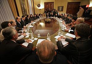 Reunión en el Congreso de los Diputados en la Sala Lázaro Dou. (Foto: AP)