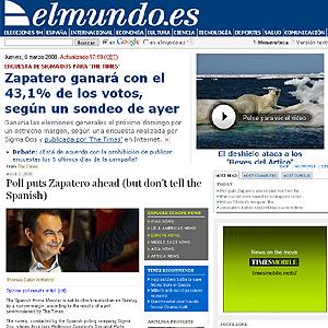 La portada de elmundo.es, ayer, y la noticia de 'The Times'.