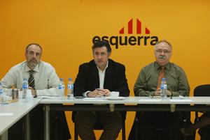 Ridao, Puigcercós y Carod, minutos antes del inicio de la Ejecutiva. (Foto: Antonio Moreno)