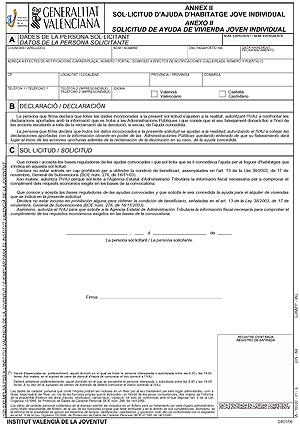 Impreso de la solicitud individual.