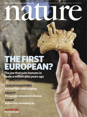Portada de 'Nature' con el hallazgo de la mandíbula. (Foto: 'Nature')