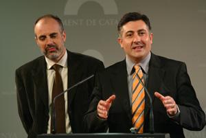 Ridao junto a Puigcercós en el anuncio de que Puigcercós se convertía en presidente del grupo en el Parlement. (Foto: Antonio Moreno)