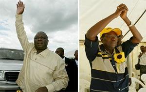 Tsvangirai y Makoni.