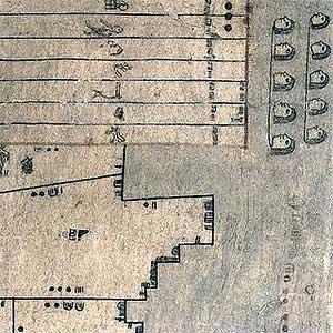 El mapa de tierras de Oztoticpac, uno de los dibujos de los códices estudiados, utiliza diferentes figuras para definir las dimensiones de las propiedades de los plebeyos y la nobleza cerca de Texcoco, la antigua capital de los aztecas Acolhua. (Foto: Science)