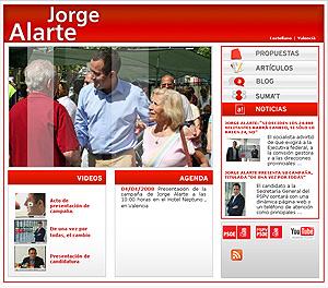 Captura de la página web del candidato Jorge Alarte. (www.jorgealarte.es)