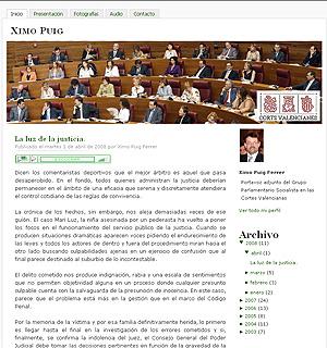 Página web oficial del diputado autonómico Joaquim Puig. (www.ximopuig.com)