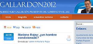 Pantallazo de la página web de apoyo a Ruiz-Gallardón.